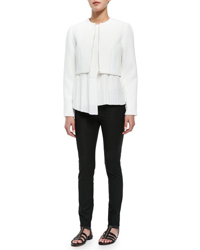 Woven Cropped-Front Zip Jacket, Asymmetric-Hem Top & Stretch-Knit Cotton-Blend Leggings
