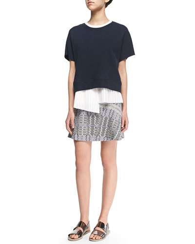 2-in-1 Sweater with Asymmetric Pleated Underpinning & Patterned Asymmetric Flare Skirt