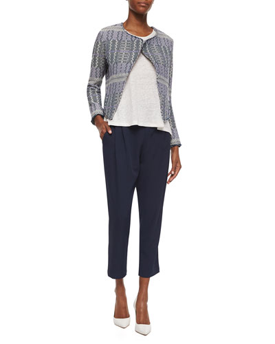 Angled Tweed Cropped Jacket, Loose Sleeveless Slub Top & Pleated Track-Style Trousers