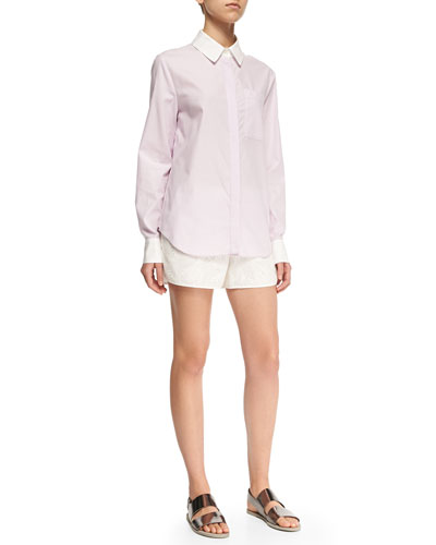 Long-Sleeve Layered-Hem Shirt & Perforated/Floral-Pattern Boxing Shorts