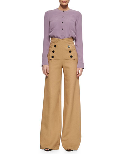 Long-Sleeve Georgette Blouse & High-Rise Sailor Pants
