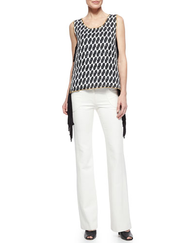 Ikat Checked Fringe Top & Front-Pocket Flare-Leg Trouser