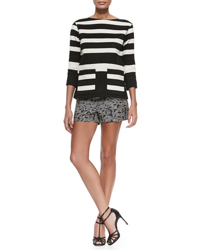 Boat-Neck Striped Pique Tunic & Woodgrain-Pattern Jacquard Shorts