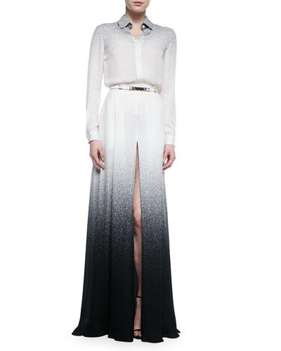 Long-Sleeve Degrade Silk Blouse & Long Slit-Front Degrade Skirt