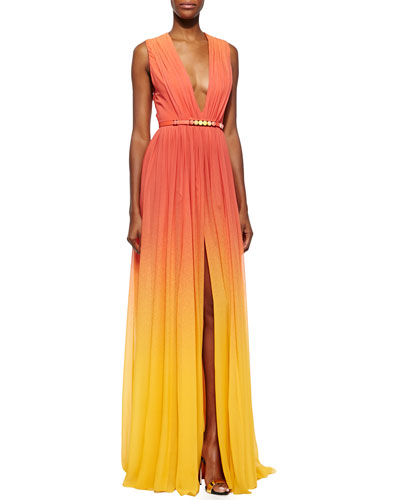 High-Slit Ombre Silk Gown & Ombre Crystal-Embellished Leather Belt, Coral Reef/Lemon