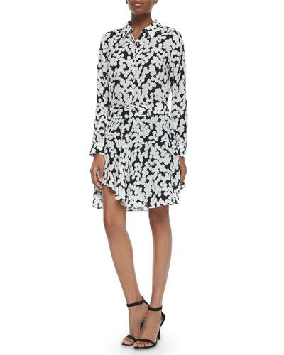 Song Floral-Print Silk Blouse & Belted Skirt