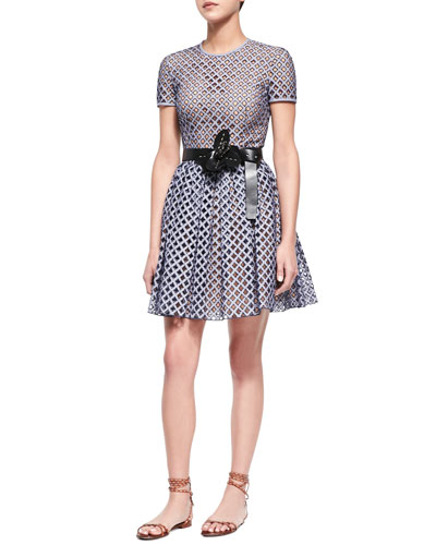Lattice Gingham Fit-and-Flare Dress & Flower-Detailed Leather Belt