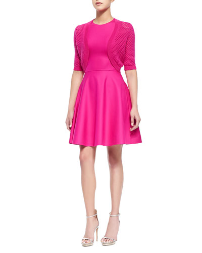 Cashmere-Blend Pointelle Elbow-Sleeve Shrug & Stretch-Crepe Fit-and-Flare Dress, Geranium