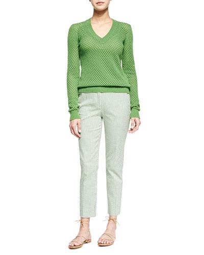 Cashmere-Blend Pointelle V-Neck Sweater & Gingham Check Ankle Pants