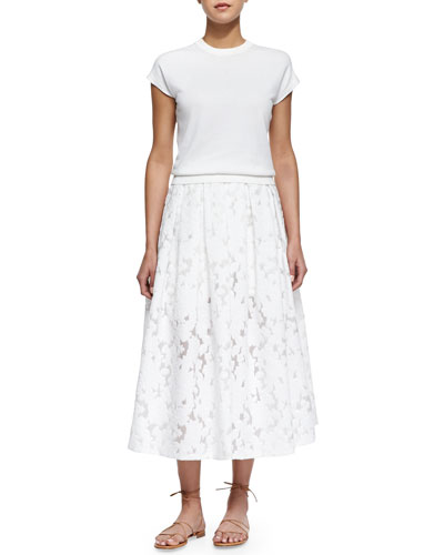 Cap-Sleeve Jersey Pullover & Floral Fil Coupe Midi Skirt, White