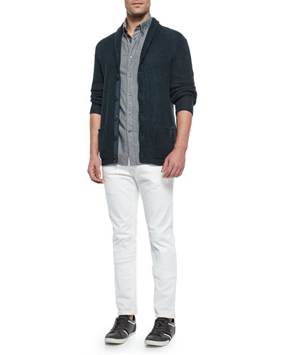 Shawl-Collar Knit Cardigan, Solid Roll-Tab Woven Shirt & Bowery Slim-Fit Straight Jeans