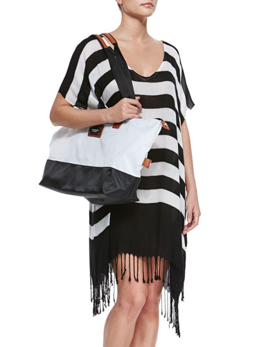 Longitude Striped Fringe-Hem Coverup & Colorblock Nylon Overnight Bag