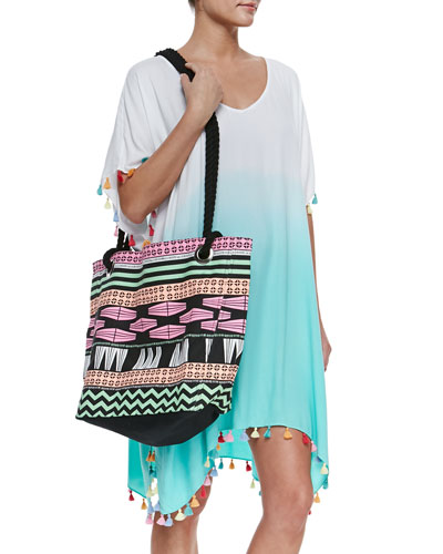 Memphis Ombre Tassel-Trim Coverup & Tribal-Print Rope-Strap Tote Bag