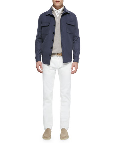 Cashmere Shirt Jacket, Half-Zip Pullover Sweater, Huck Lace Long-Sleeve Polo & Five-Pocket Denim Jeans