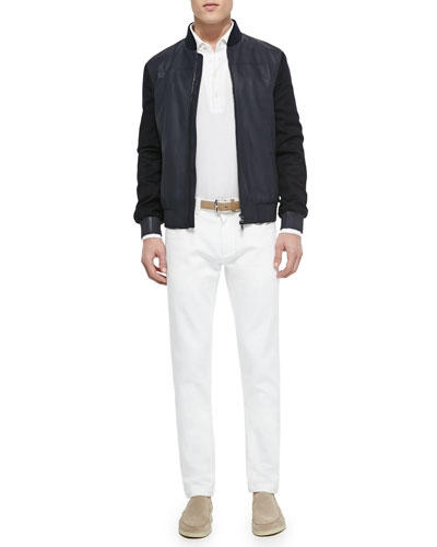 Smooth and Suede Lambskin Bomber Jacket, Huck Lace Long-Sleeve Polo & Five-Pocket Denim Jeans