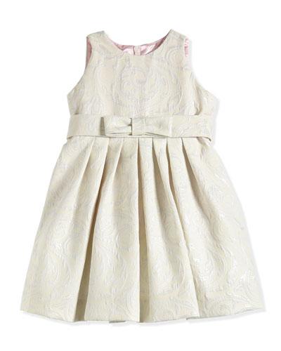 Floral-Jacquard Dress, Platinum/Ivory