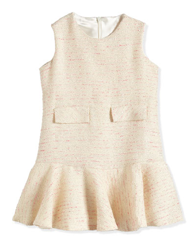 Fit-and-Flare Tweed Dress, Pink/Ivory/Platinum