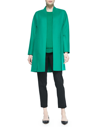 Cashmere-Blend Paneled Coat, Cashmere Chiffon-Trimmed Sweater & Tropical Wool Slim Trouser