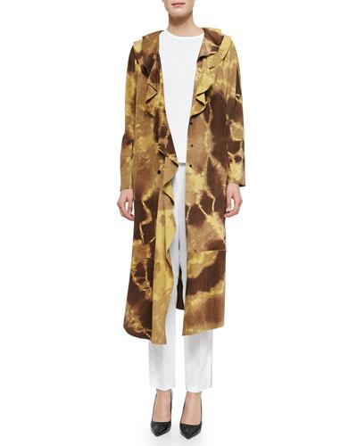 Giraffe-Print Ruffled Suede Coat, Cap-Sleeve Shell Sweater & Tapered Slim-Fit Crepe Pants