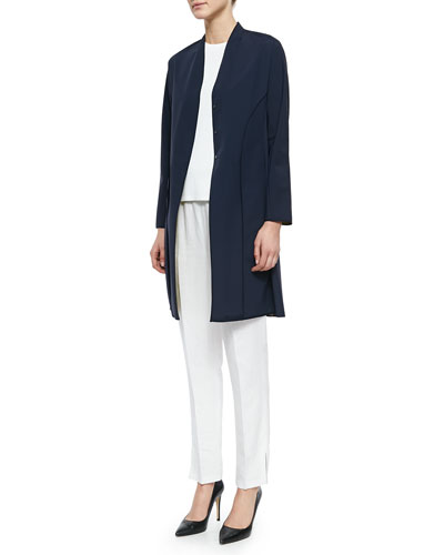 Lined Princess-Seamed Raincoat, Cap-Sleeve Shell Sweater & Tapered Slim-Fit Crepe Pants