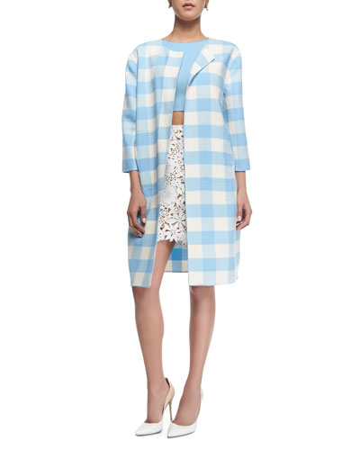 Buffalo-Check 3/4-Sleeve Long Coat, Sleeveless Jewel-Neck Crop Blouse & Floral Guipure Lace A-Line Skirt
