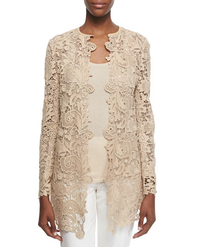 Thora Paisley Lace Short Coat & Cashmere-Silk Knit Tank