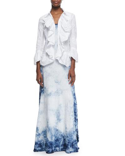 Jacqueline Paisley-Embroidered Ruffle Shirt & Peggy Tie-Dye Tank Dress