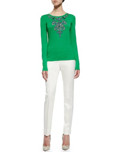Jewel-Embellished Knit Sweater & Front-Seam Slim Pants