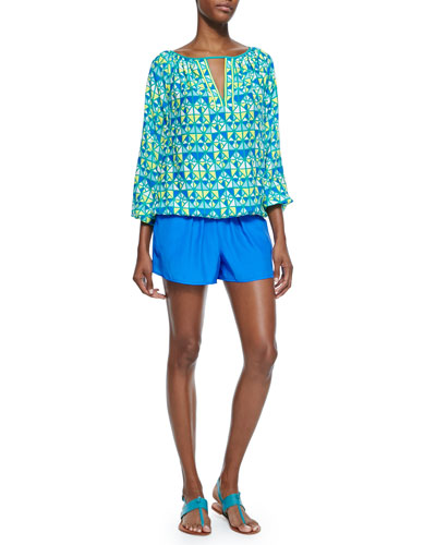 Valerie Long-Sleeve Peasant Top & Micah Pleated-Front Short Shorts