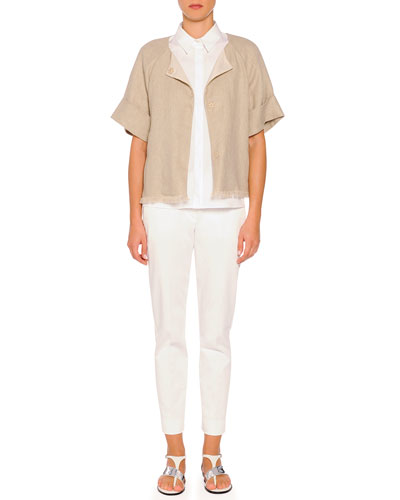 Short-Sleeve Fringe-Trimmed Jacket, Short-Sleeve Pleated-Back Poplin Blouse & Kim Flat-Front Ankle Pants
