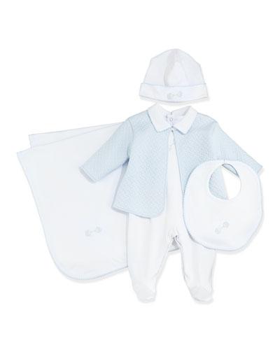Baby Rattle Jacket & Footie Pajama Set, Hat, Bib & Blanket, White/Light Blue