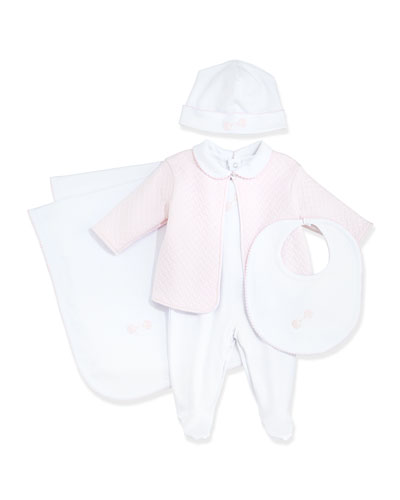 Baby Rattle Footie Pajama & Jacket Set, Baby Hat, Bib & Blanket, White/Pink