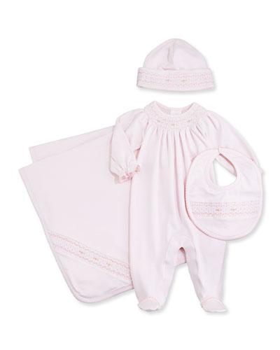 Summer Bishop Footie Pajamas, Baby Hat, Blanket & Bib Pink