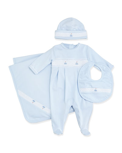 Summer Bishop Footie Pajamas, Baby Hat, Blanket & Bib