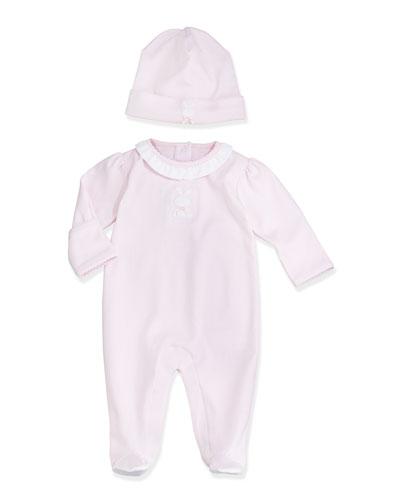 Pique Bunny Footie Pajamas & Baby Hat, Pink
