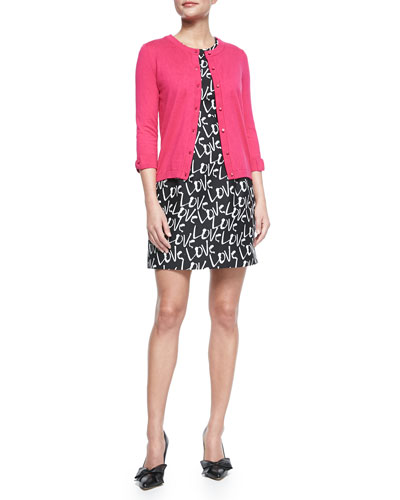somerset bow-sleeve button-front cardigan & mindy dress with love graffiti print