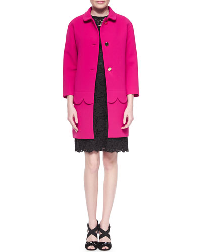talia button-front coat w/ scalloped detail & floral lace sheath dress