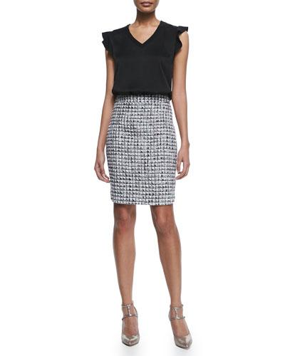 v-neck flutter-sleeve crepe tee & tweed pencil skirt