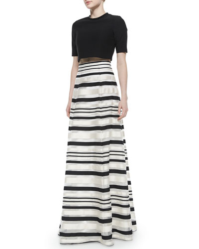 Ryker Crop Top & Zaniyah Striped Long Skirt