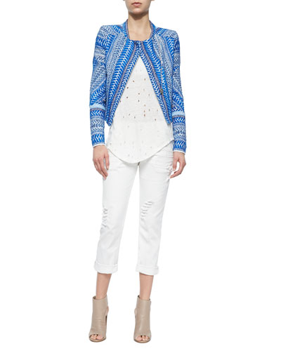 Ozaka Patterned Tweed Cropped Jacket, Doris Sleeveless Perforated Linen Top & Nariane Mid-Rise Distressed Jeans