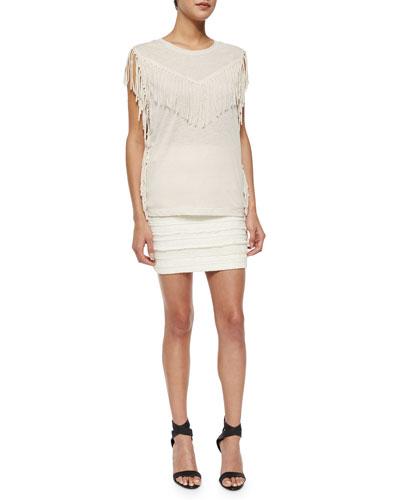 Gise Sleeveless Fringed Top & Occeli Pattern-Stripe Pencil Skirt