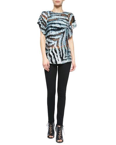 Onara Burnout Short-Sleeve Top & Niam Fringe-Trim Denim Jeans