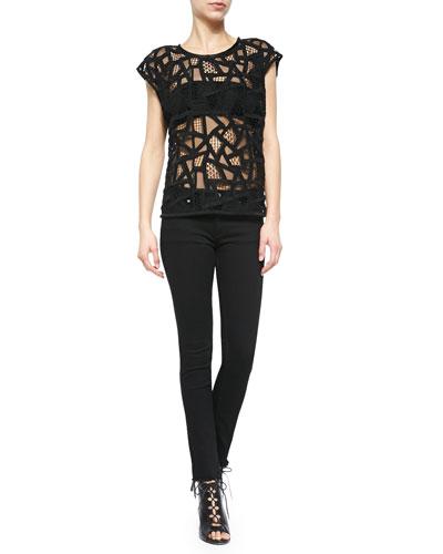 Olpen Mesh Cutout Cap-Sleeve Top & Niam Fringe-Trim Denim Jeans