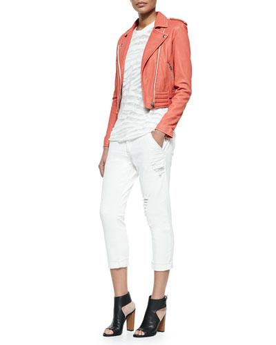 Zefir Cropped Leather Zip Jacket, Zebra-Stripe Burnout Slub Top & Nariane Mid-Rise Distressed Jeans
