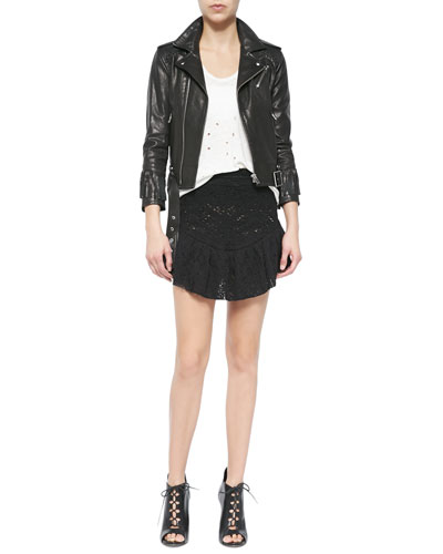 Zerignola Lamb Leather Jacket, Doris Sleeveless Perforated Linen Top & Filen Flounce-Hem Lace Miniskirt