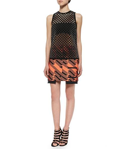 Ricky Perforated Tank Top & Ribbon Jacquard Welt-Pocket Miniskirt