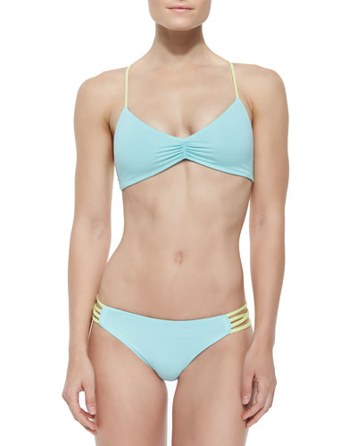 Wild One Colorblock Halter Top & Strappy-Side Colorblock Swim Bottom