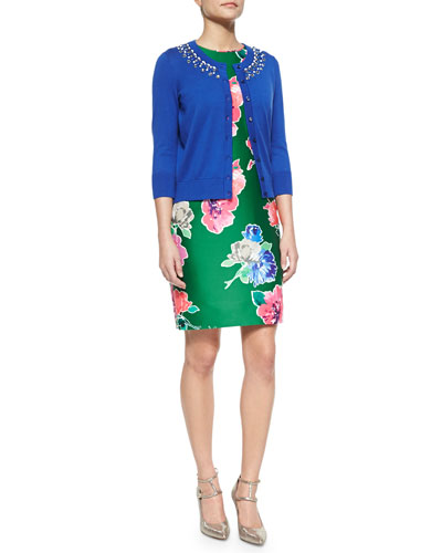 3/4-sleeve beaded cotton cardigan & sleeveless printed blooms della dress