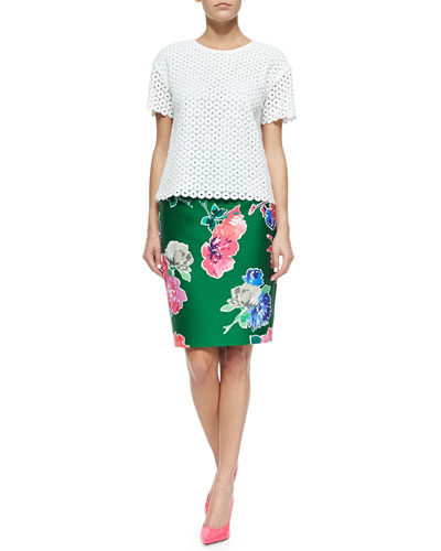 guipure lace scalloped top & blooms marit straight skirt