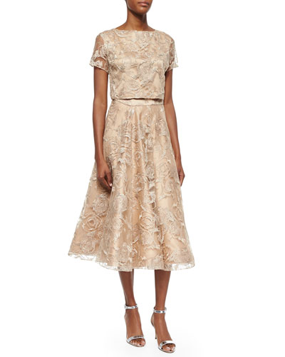 Short-Sleeve Lace Cropped Top & Lace Tea-Length Ball Skirt